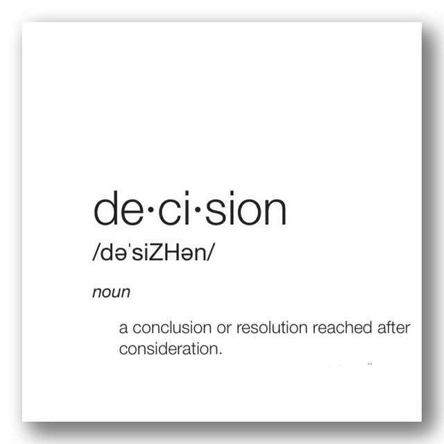De-ci-sion noun a conclusion or resolution reached after consideration