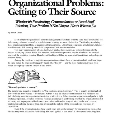 The 10 Most Common Organizational Problems: Getting to Their Source