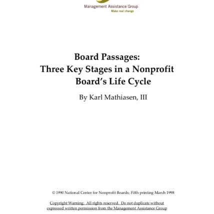 Board passages: three key stages in a nonprofit boards life cycle bike Karl Mathiasen, III