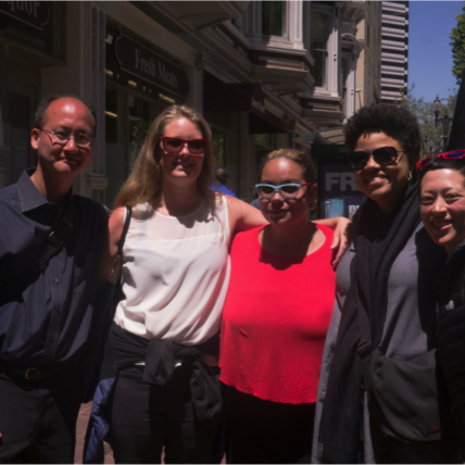 photo of 5 people: Eugene Eric Kim, Jodie Tonita, adrienne maree brown, Elissa Perry, and Alison Lin. Not pictured: Mark Leach.