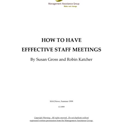 Title Page - How to Have Effective Staff Meetings