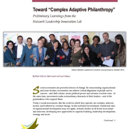Screenshot of article titled toward complex adaptive philanthropy: preliminary learnings from the network leadership innovation lab