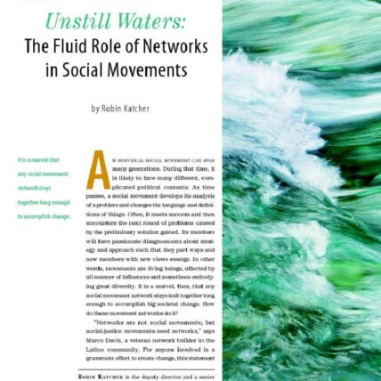 Screen shot of article from nonprofit quarterly summer 2010, and still Waters: the fluid role of networks and social movements