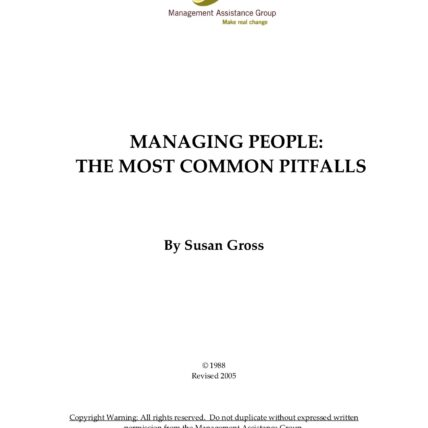 Title Page - Managing People: The Most Common Pitfalls