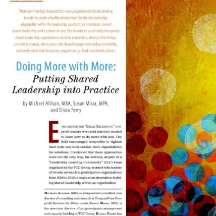 Screenshot of nonprofit quarterly article, doing more with more: putting shared leader ship into Practice by Michael Allison, Susan Misra, and Elissa Perry