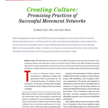 Screenshot of nonprofit quarterly article, creating culture: promising practices of successful movement networks by Mark Leach, DBA, and Laurie Mazur