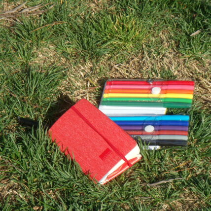 Markers and a notebook laying in the grass
