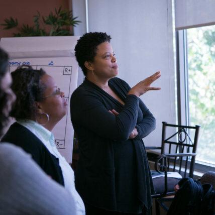 Photo of Elissa Sloan Perry facilitating