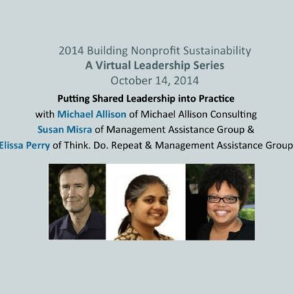 2014 Building Nonprofit Sustainability: A Virtual Leadership Series, October 14, 2014. Putting Shared Leadership into Practice with Michael Allison of Michael Allison Consulting, Susan Misra of Management Assistance Group & Elissa Perry of Think. Do. Repeat & Management Assistance Group poster