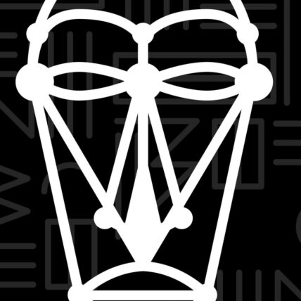 Wakanda Dream Lab logo (white outline of an African Mask)